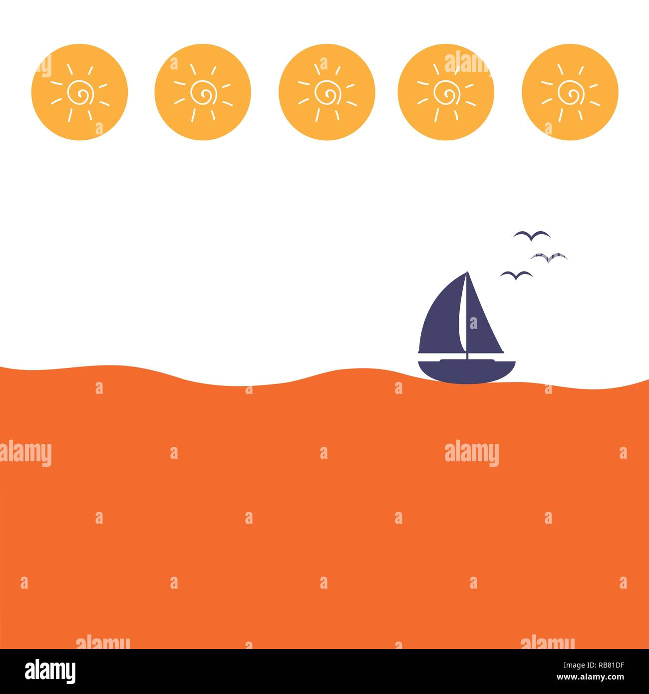 lonely sailboat on the sea with sun icon vector illustration - Stock Vector