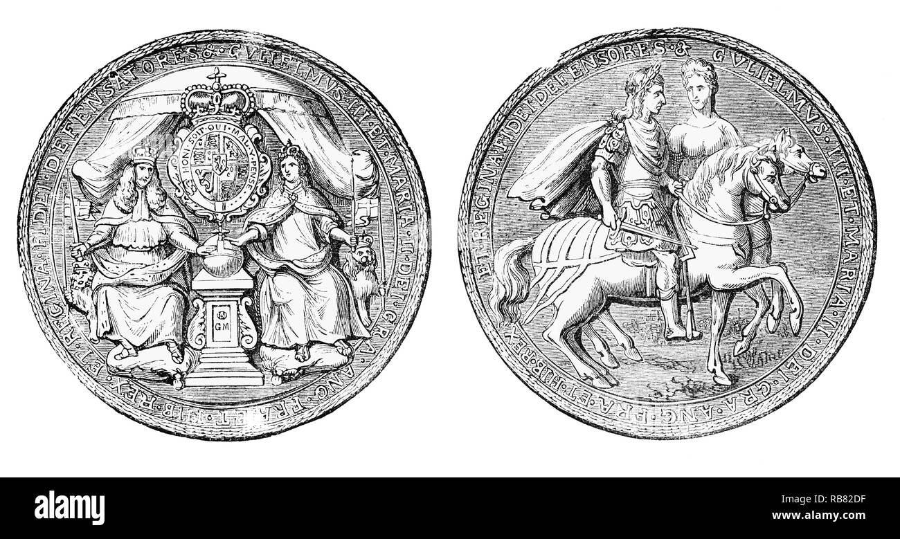 The Great Seal of the Realm, used to show the monarch's approval of important State documents for joint monarchs, William III (1650-1702), also widely known as William of Orange, King of England, Ireland and Scotland from 1689 until his death in 1702 and informally known as 'King Billy'. And Mary II (1662-1694) was Queen of England, Scotland, and Ireland, co-reigning with her husband and first cousin, King William III  until her death in 1694. Popular history refers to their joint reign as that of William and Mary who became king and queen regnant following the Glorious Revolution. - Stock Image