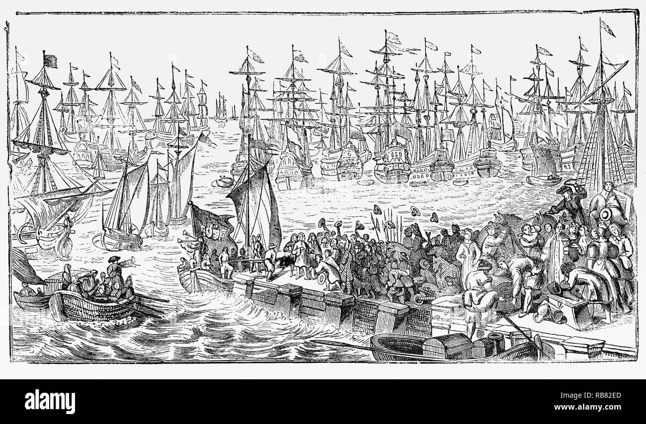 William III of Orange's invasion fleet departing in 1688 during the Glorious Revolution from the port of Hellevoetsluis in the province of South Holland, western Netherlands, which grew from the beginning of the 17th century to be the homeport for the Dutch war fleet. - Stock Image