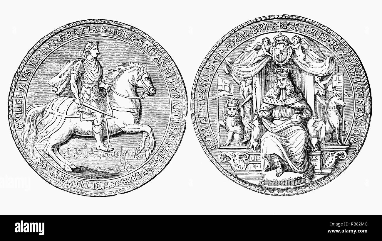 The Great Seal of the Realm, used to show the monarch's approval of important State documents. Following the death of joint monarch, Queen Mary II (1662-1694),  William III (1650-1702), also widely known as William of Orange, King of England, Ireland and Scotland  and informally known as 'King Billy', ruled alone until his death in 1702 - Stock Image