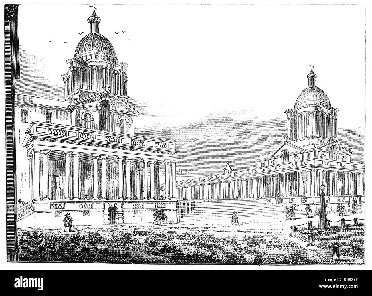 Greenwich Hospital was created as the Royal Hospital for Seamen at Greenwich on the instructions of Queen Mary II, who had been inspired by the sight of wounded sailors returning from the Battle of La Hogue in 1692. She ordered the King Charles wing of the palace to be remodelled as a naval hospital to provide a counterpart for the Chelsea Hospital for soldiers. Sir Christopher Wren and his assistant Nicholas Hawksmoor gave their services free of charge as architects of the new Royal Hospital. Sir John Vanbrugh succeeded Wren as architect, completing the complex to Wren's original plans - Stock Image