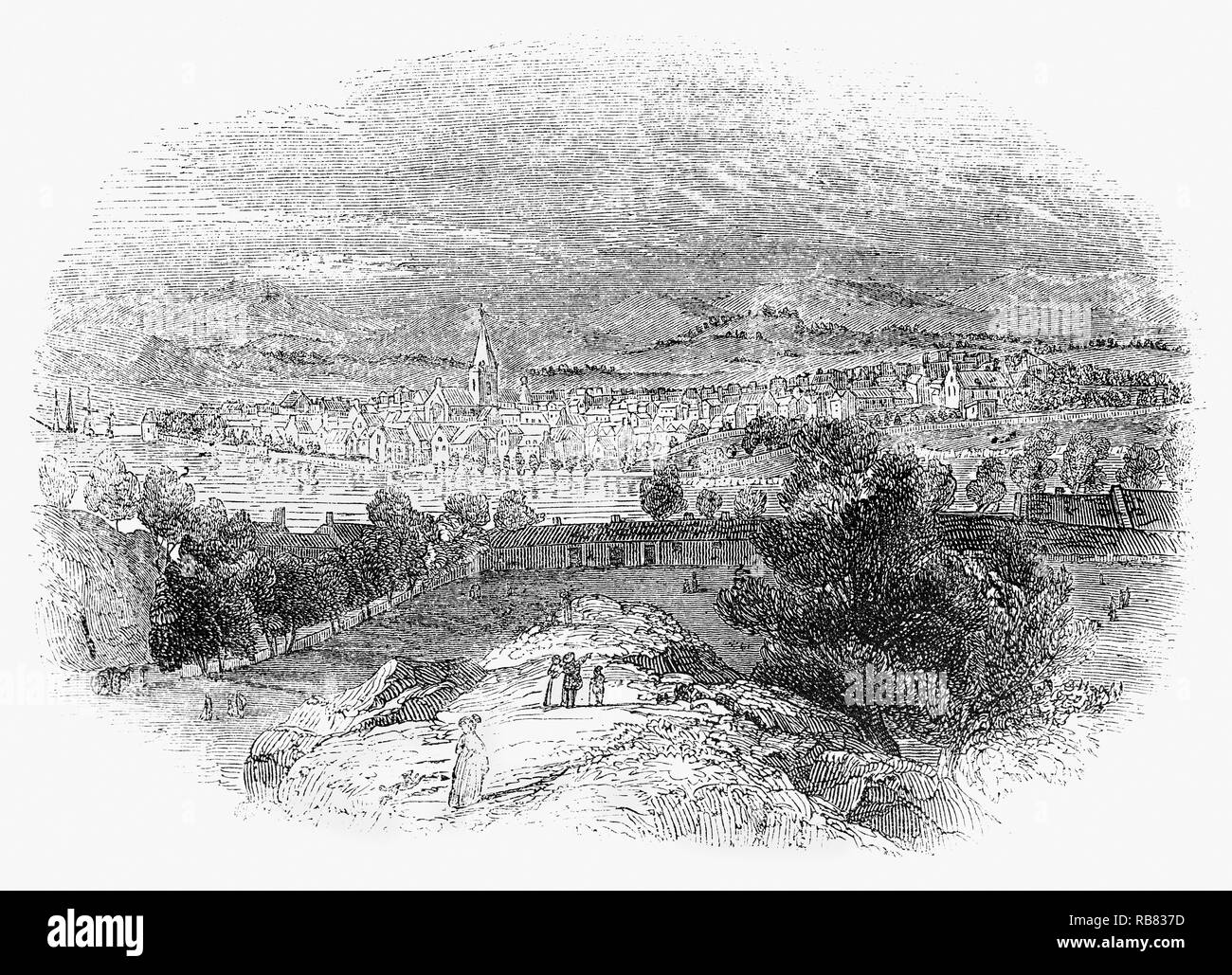 Perth in central Scotland, located on the banks of the River Tay.  The city was occupied by Jacobite supporters in 1715 and 1745). The founding of Perth Academy in 1760 helped to bring major industries, such as linen, leather, bleach and whisky, to the city. - Stock Image