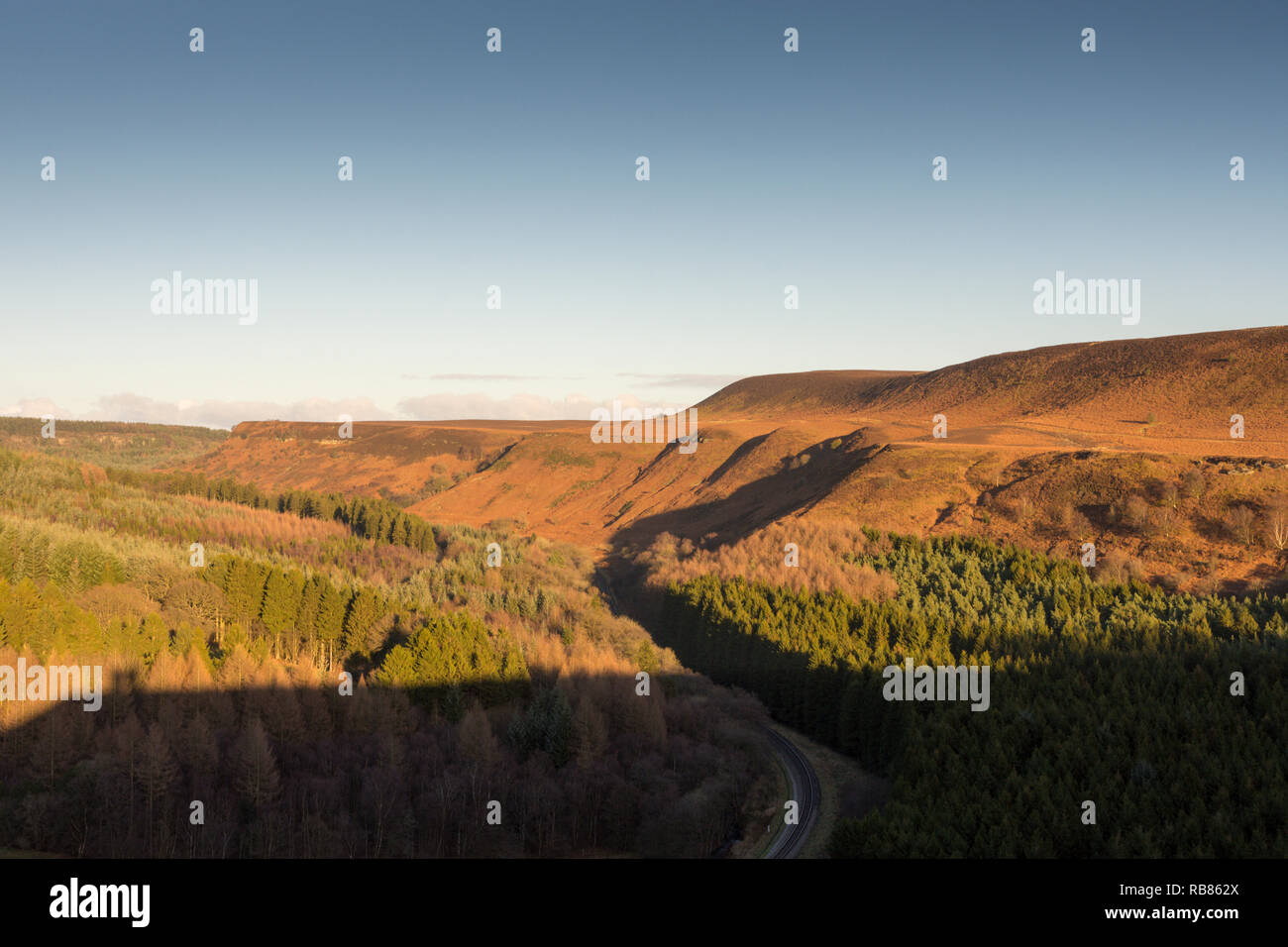 View of the valley and Levisham Bottoms from Skelton Tower in the North York Moors National Park, Yorkshire, England, United Kingdom, Europe. - Stock Image