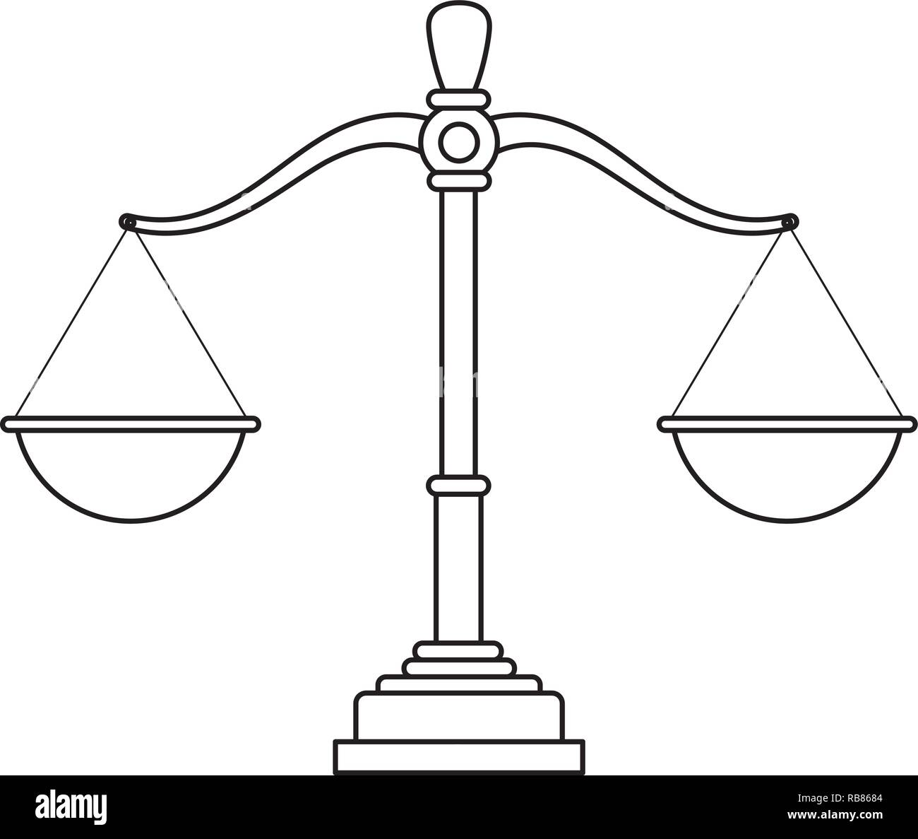 justice balance cartoon - Stock Vector