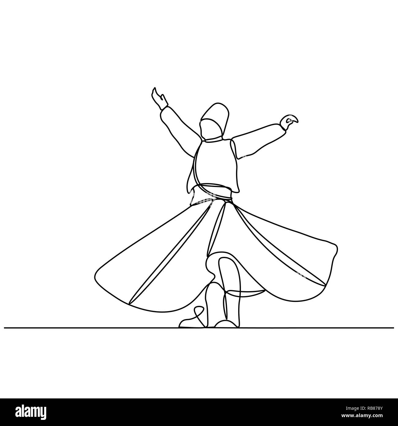 whirling dervish vector drawing. Vector illustration drawn with one line - Stock Image
