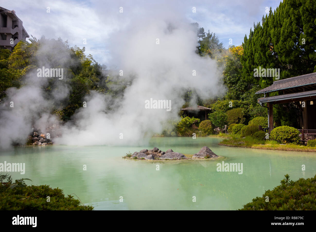 Beppu, Japan - November 2, 2018: Tatsumaki Jigoku, geothermic pool, on the hell tour in Beppu - Stock Image