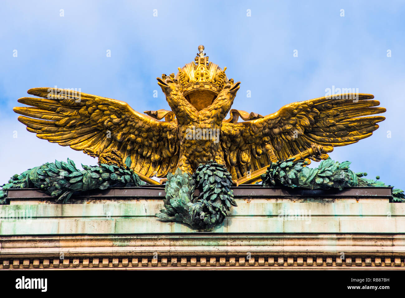 a9d3261ab Gold Imperial Two Headed Eagle And Royal Crown Of The Hofburg Palace In  Vienna, Austria