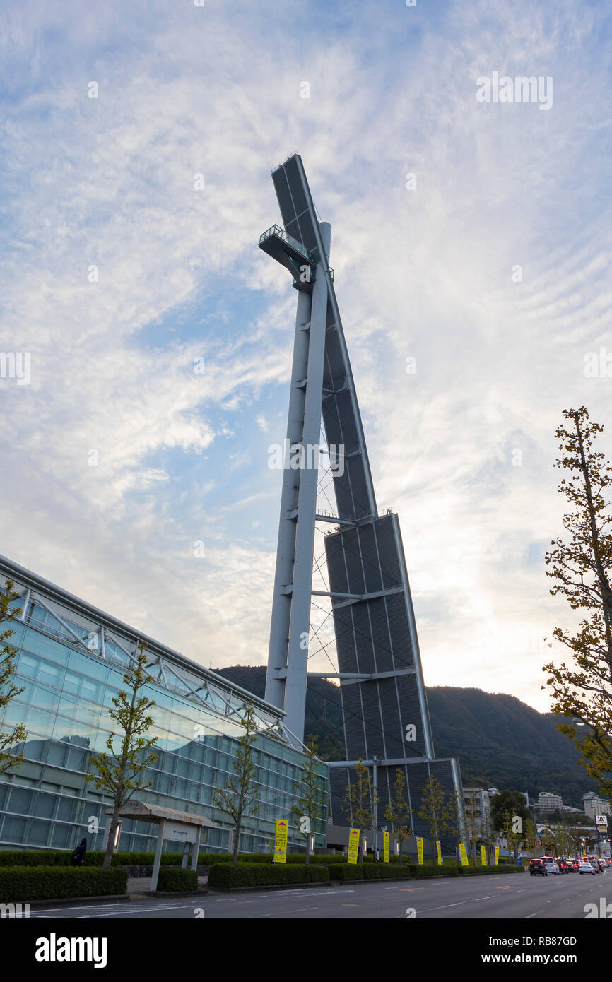 Beppu, Japan - November 2, 2018: Global tower with an observation Platform at 100 meters off ground, you can have a view of the entire Beppu City - Stock Image