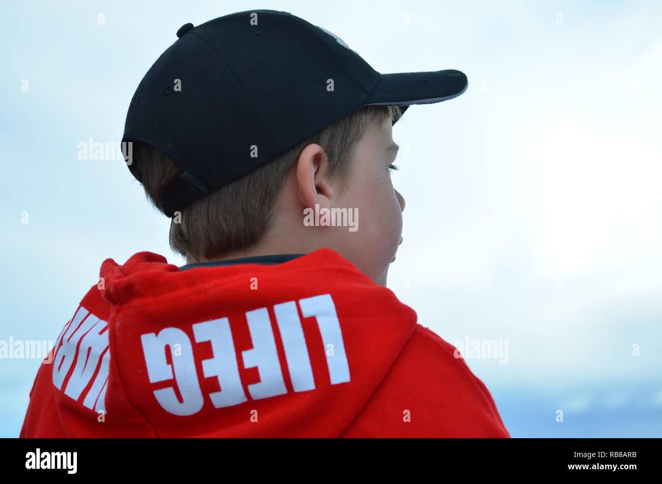 Boy on boat - Stock Image