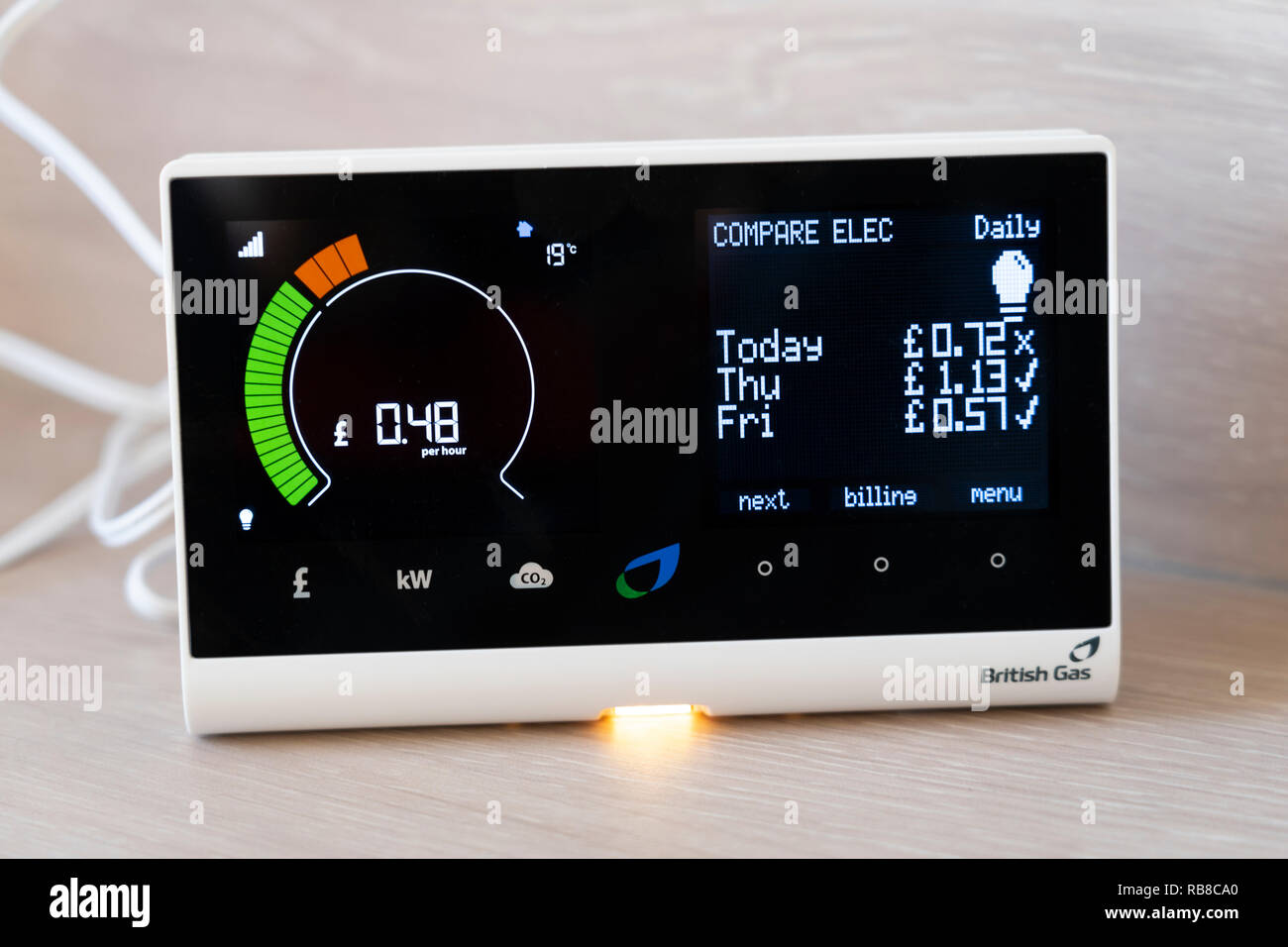 A British Gas smart meter in a home showing electricity consumption per hour and comparing with previous days usage - Stock Image
