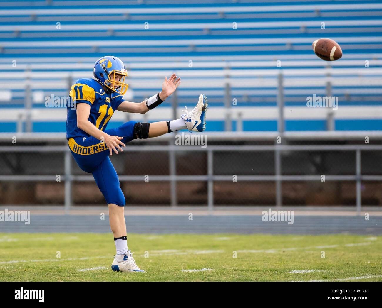 Football action with West Valley vs. Anderson in Anderson, California. - Stock Image