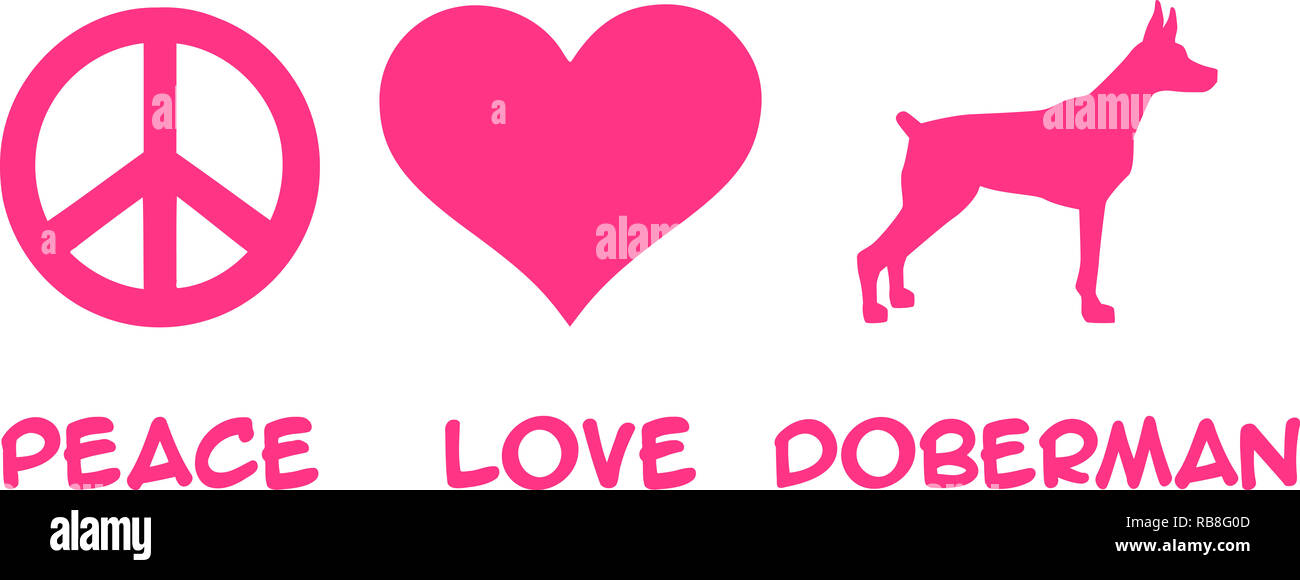 Peace, Love, Doberman slogan pink - Stock Image