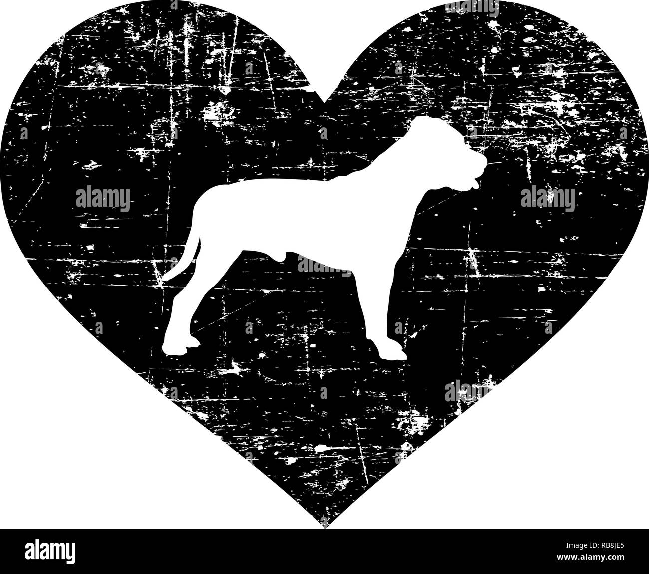 Staffordshire Bull Terrier silhouette in black heart - Stock Image