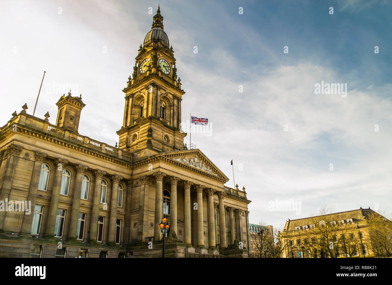 Bolton Town Hall in the late afternoon light.  Lancashire, England Stock Photo