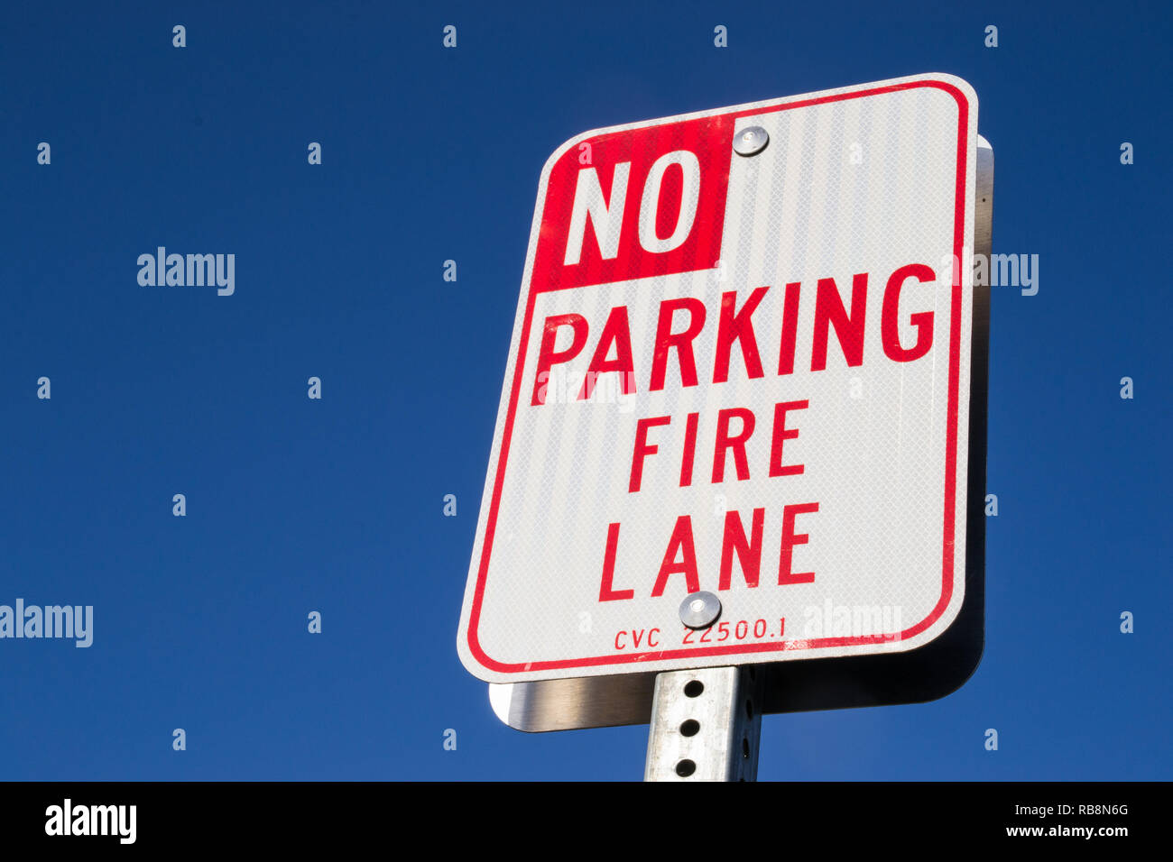 """The """"No parking fire lane"""" sign. Stock Photo"""