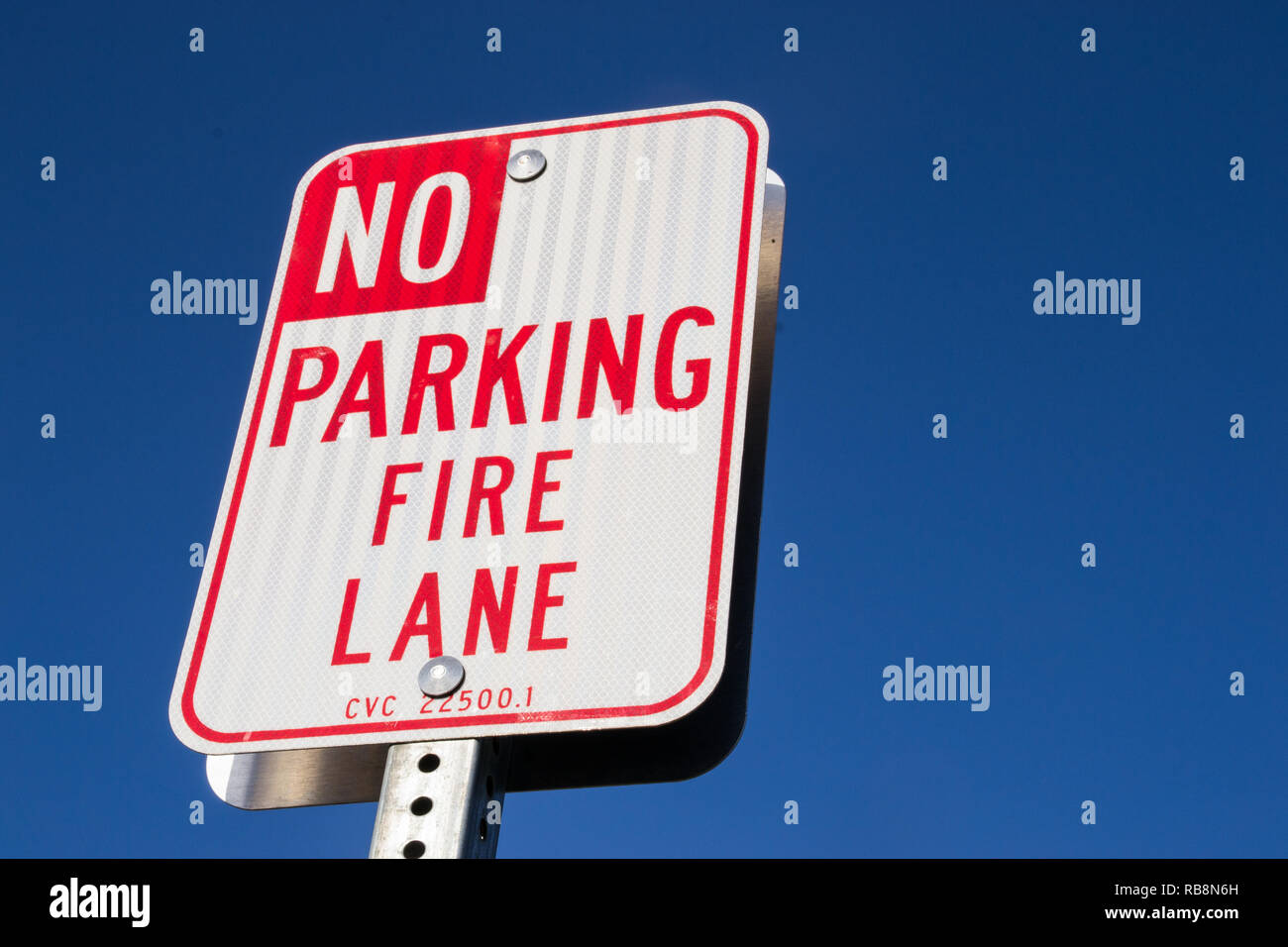 "The ""No parking fire lane"" sign. Stock Photo"