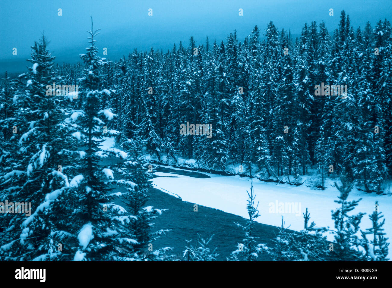 Whether you feel blue or love the colour blue, Banff National Park, Alberta, Canada, offers soothing forests, mountains & water. Stock Photo