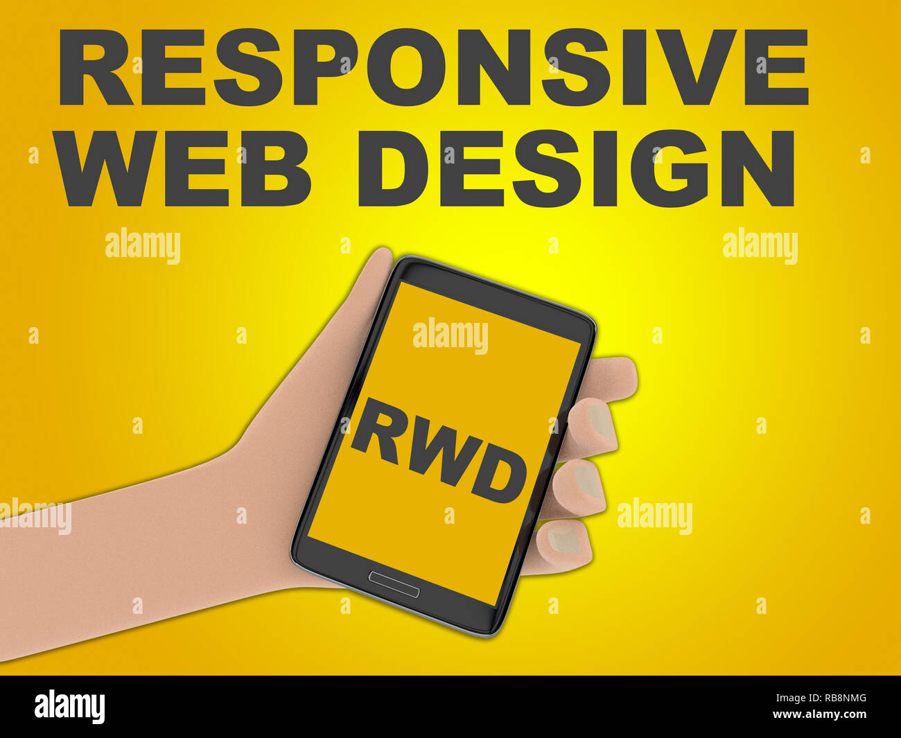 3D illustration of RWD script on the screen of a cellulr phone held by hand, isolated on green gradient, with the script RESPONSIVE WEB DESIGN on the  - Stock Image
