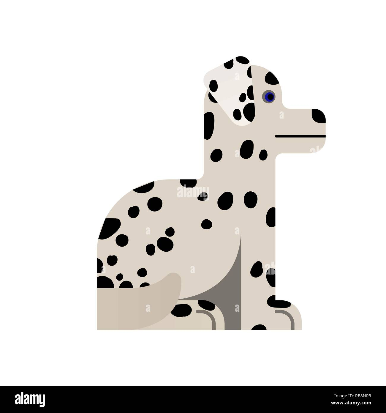 Dalmatian sits. Thoroughbred dog. Vector illustration Flat icon - Stock Vector