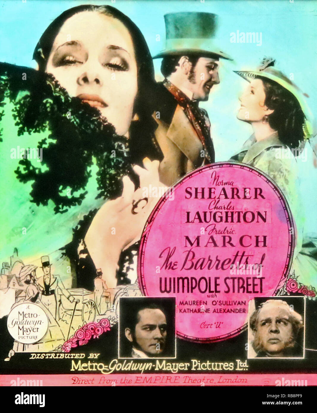 Charles Laughton 'The Barretts of Wimpole Street' movie advertisement - Stock Image