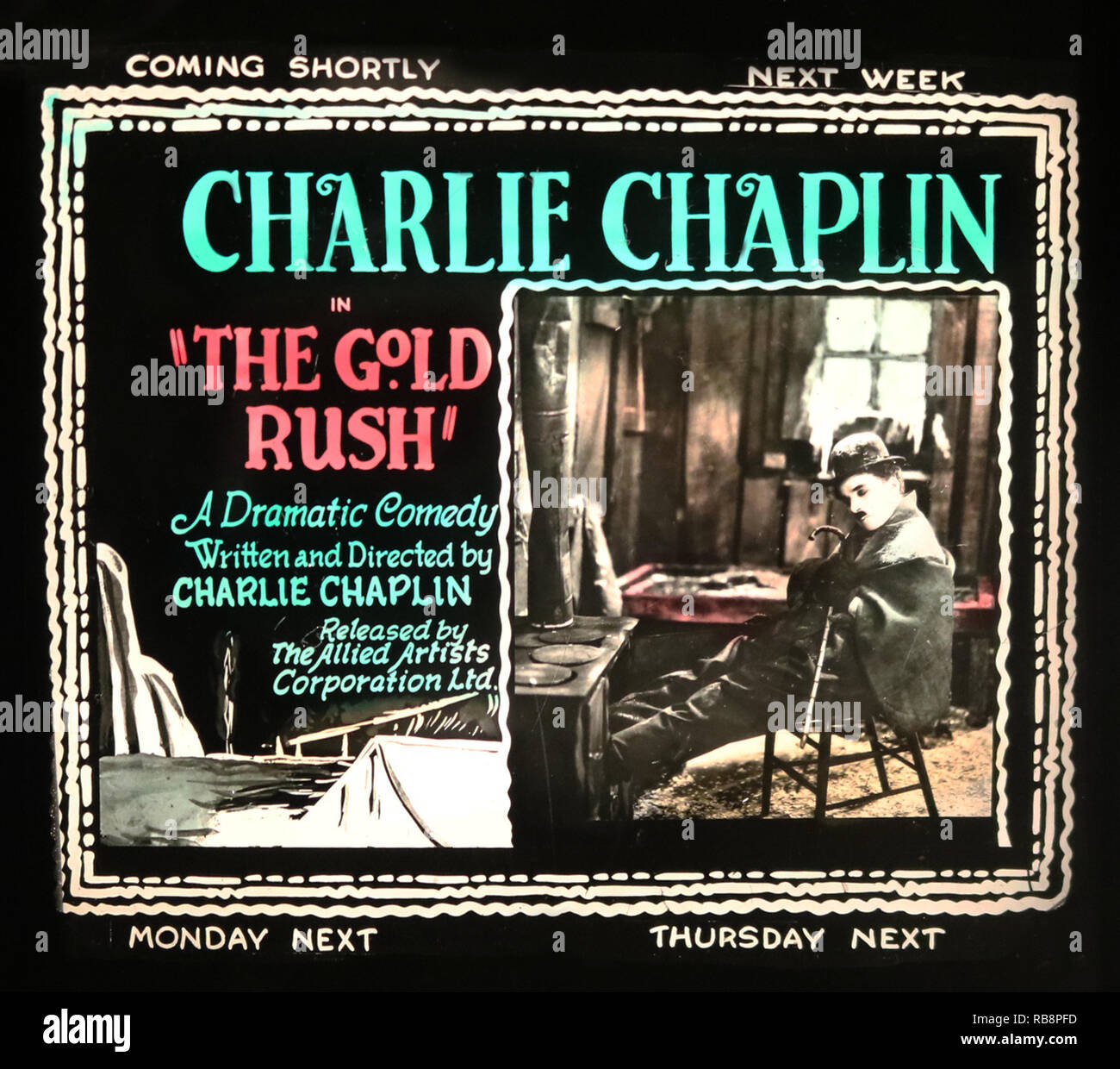 Charlie Chaplin 'The Gold Rush' movie advertisement - Stock Image