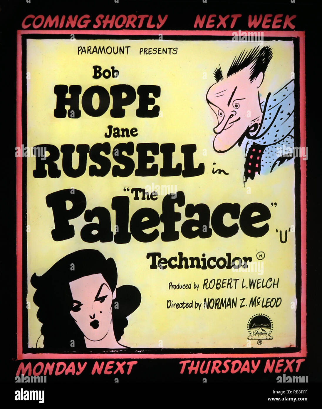 Bob Hope Jane Russell 'The Paleface' movie advertisement - Stock Image