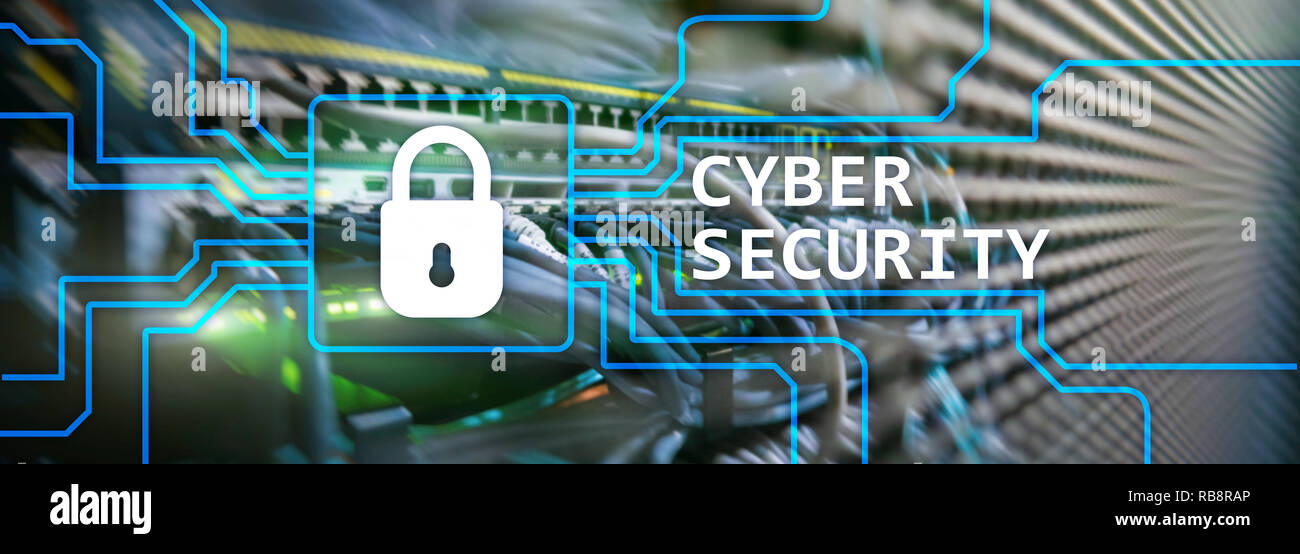 Cyber security, information privacy and data protection concept on server room background Stock Photo
