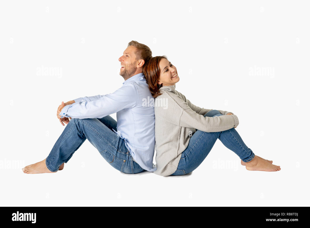 Happy couple isolated on white background with copy space Thinking and Planning wealthy future together in Love, Buying First house, having Child Baby Stock Photo