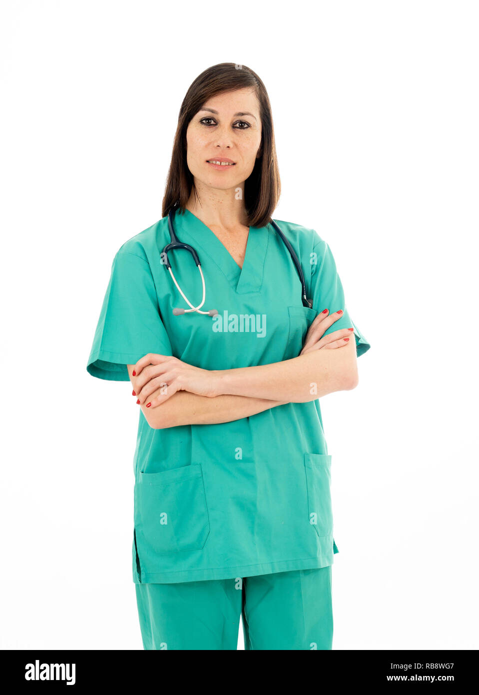 Portrait of happy female doctor with stethoscope in green Scrubs uniform isolated on white background copy space in Health care successful professiona - Stock Image