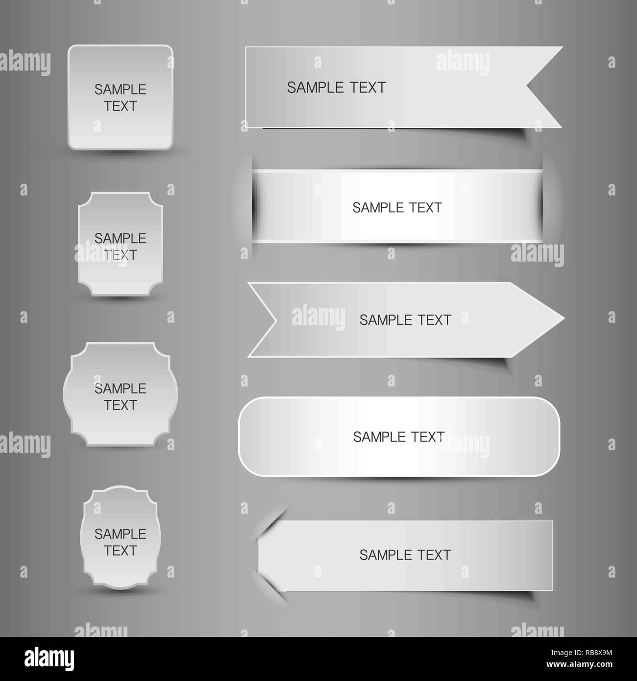 Set of Various Black and White Blank Tag, Label, Header or Banner Designs - Illustration in Editable Vector Format - Stock Vector