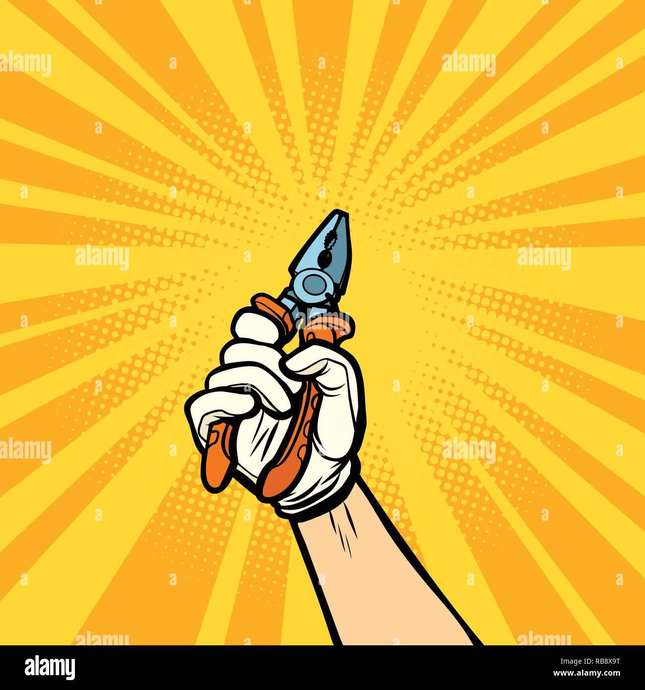 hand with pliers, work tool. Comic cartoon pop art retro vector illustration drawing - Stock Vector