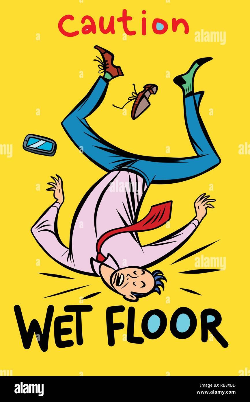 caution wet floor. Comic cartoon pop art retro vector illustration drawing - Stock Image