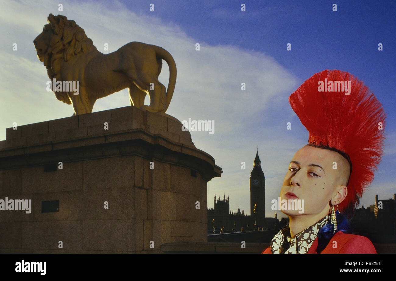 Matt Belgrano 'the gentleman punk' outside Parliament. London. England. UK. Europe. Circa 1980s - Stock Image