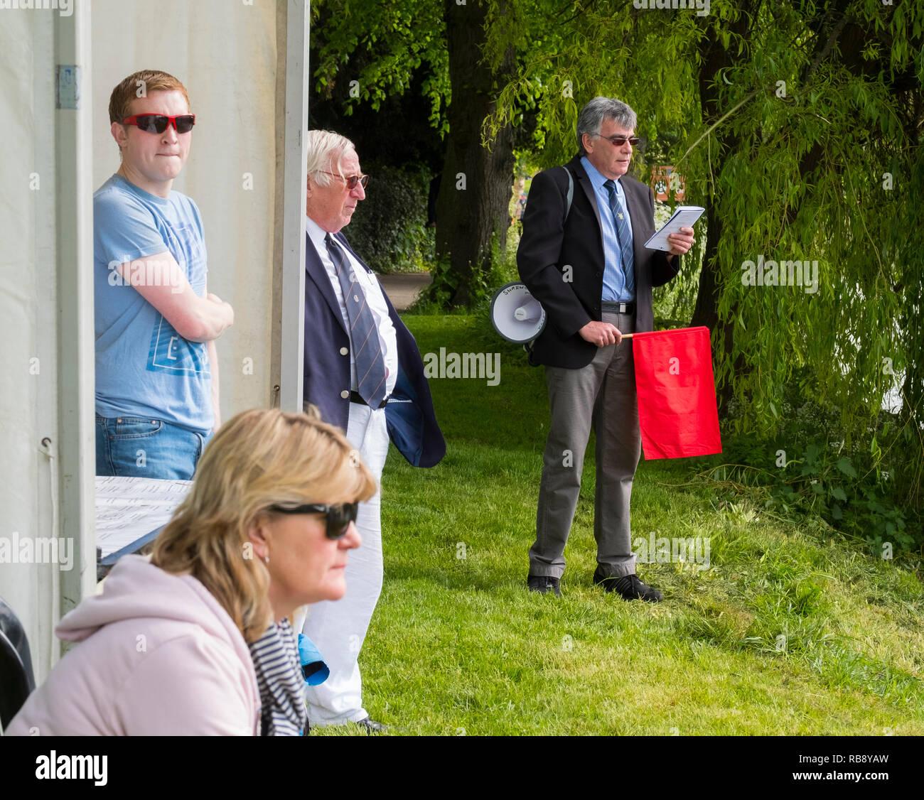 Officials and starter at Shrewsbury Regatta, Shropshire, England, UK - Stock Image