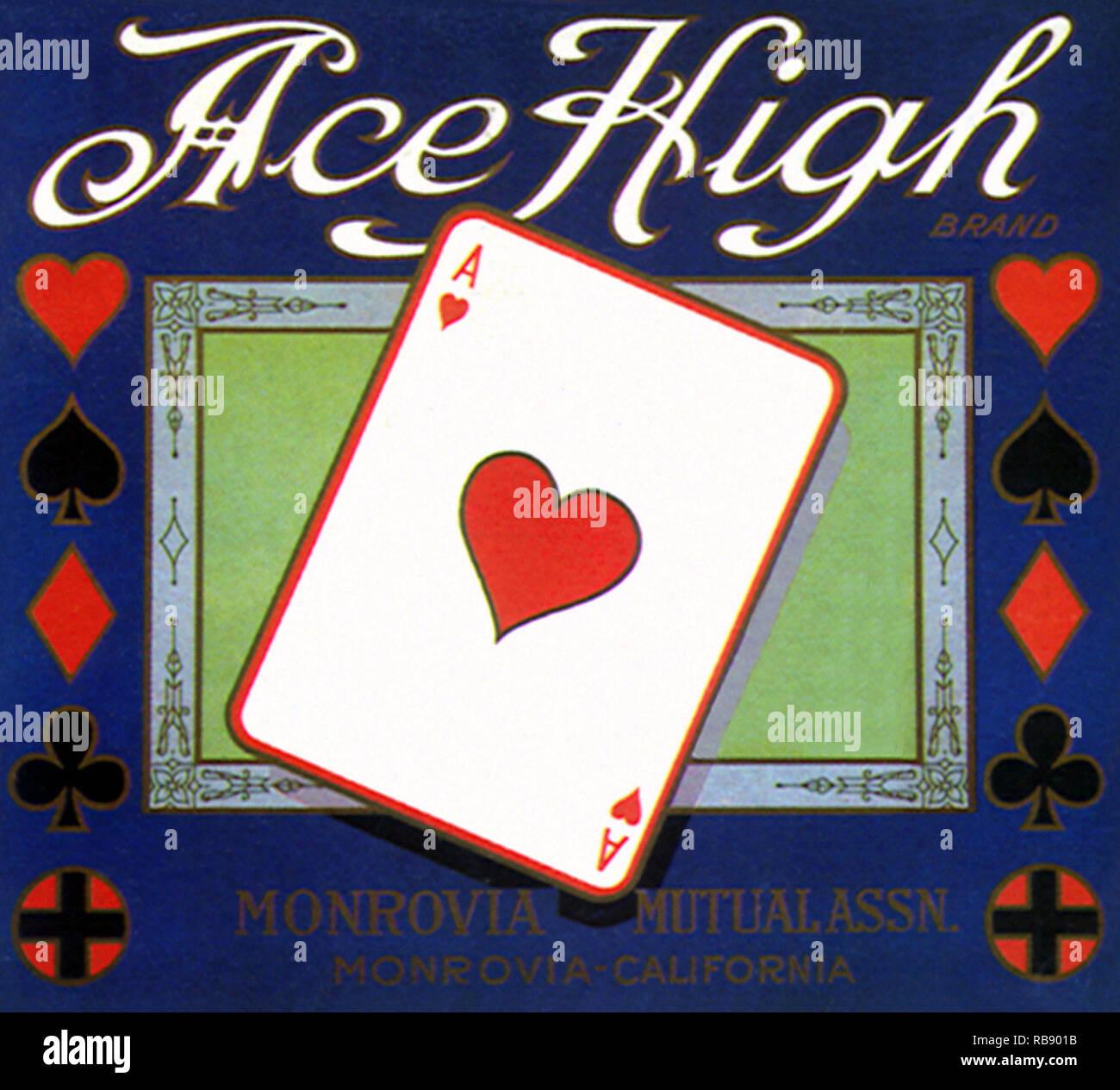 Ace Card Fruit Label - Stock Image