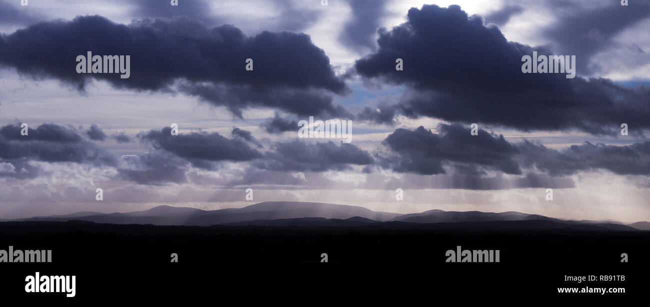 The Cheviot Hills viewed from Foulden on the Scottish Border - Stock Image