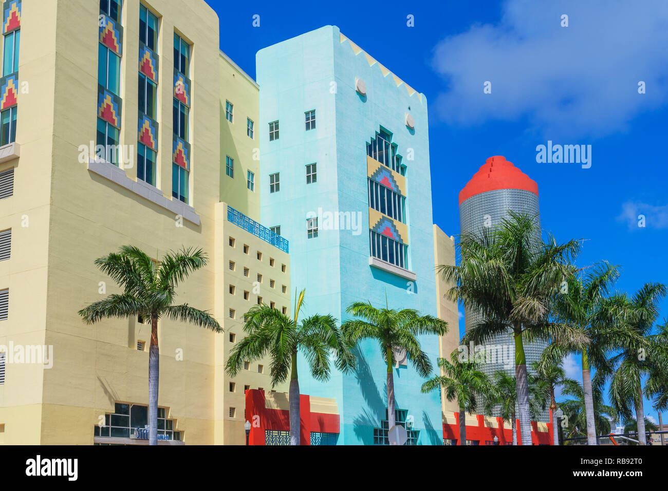 Art Deco District, South Beach, Miami, Florida, USA - Stock Image