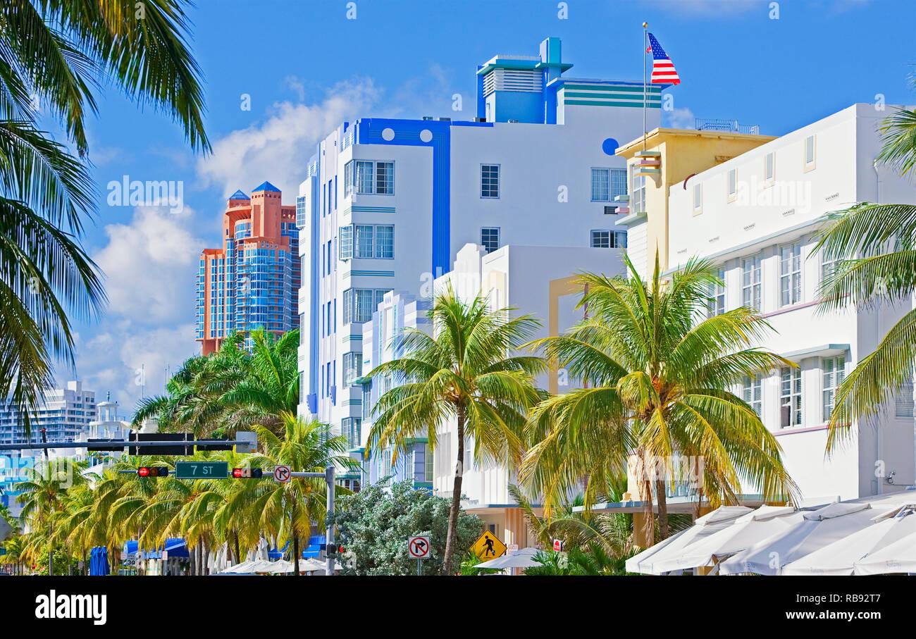 Ocean Drive, South Beach, Miami, Florida, USA - Stock Image