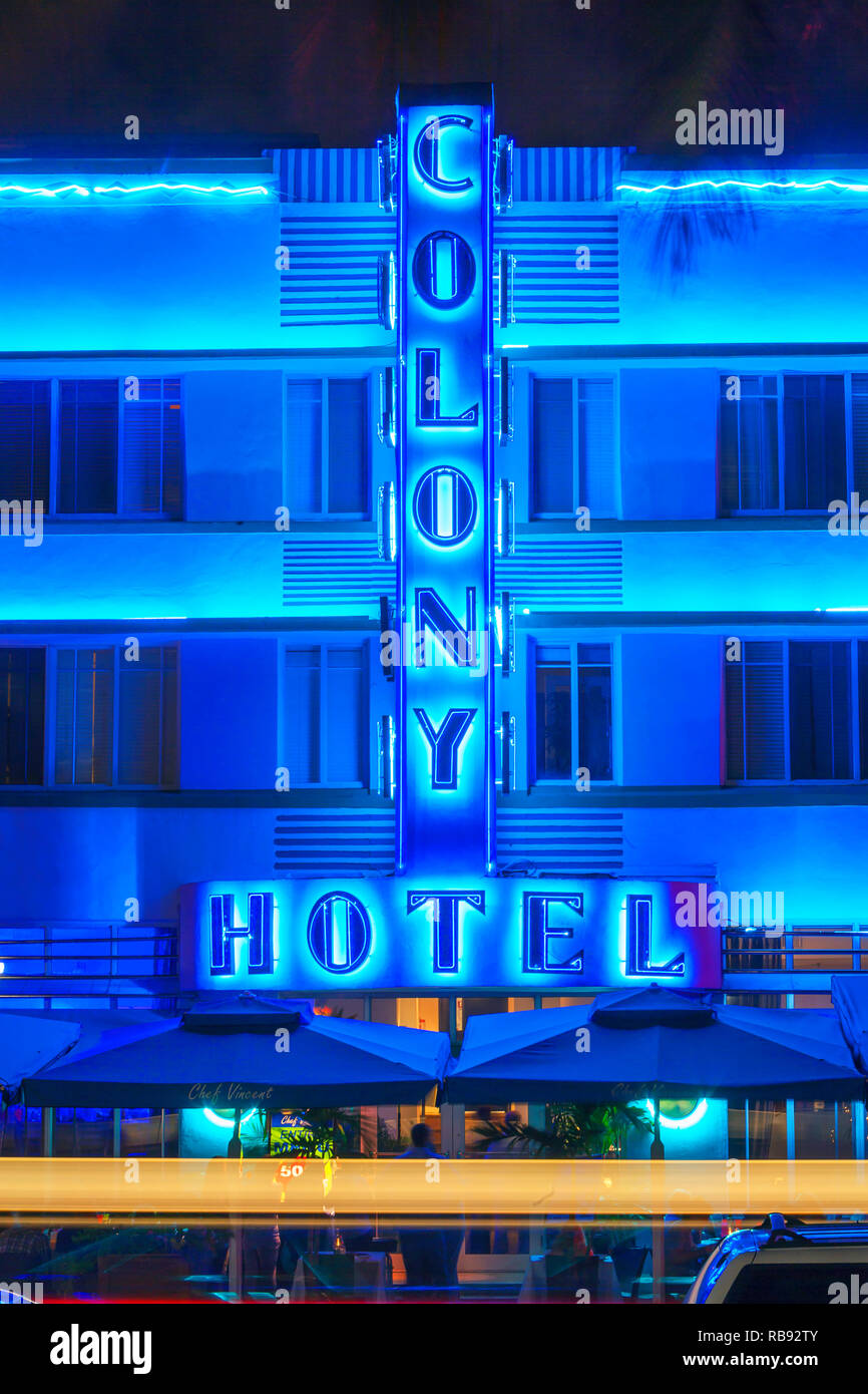 The Colony Hote on Ocean Drive, South Beach, Miami, Florida, USA - Stock Image