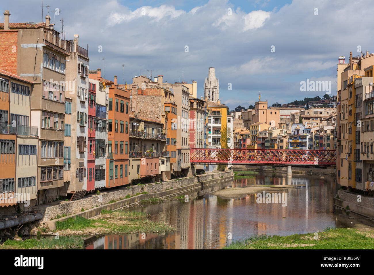 Colorful houses in Girona, Catalonia, Spain. Stock Photo