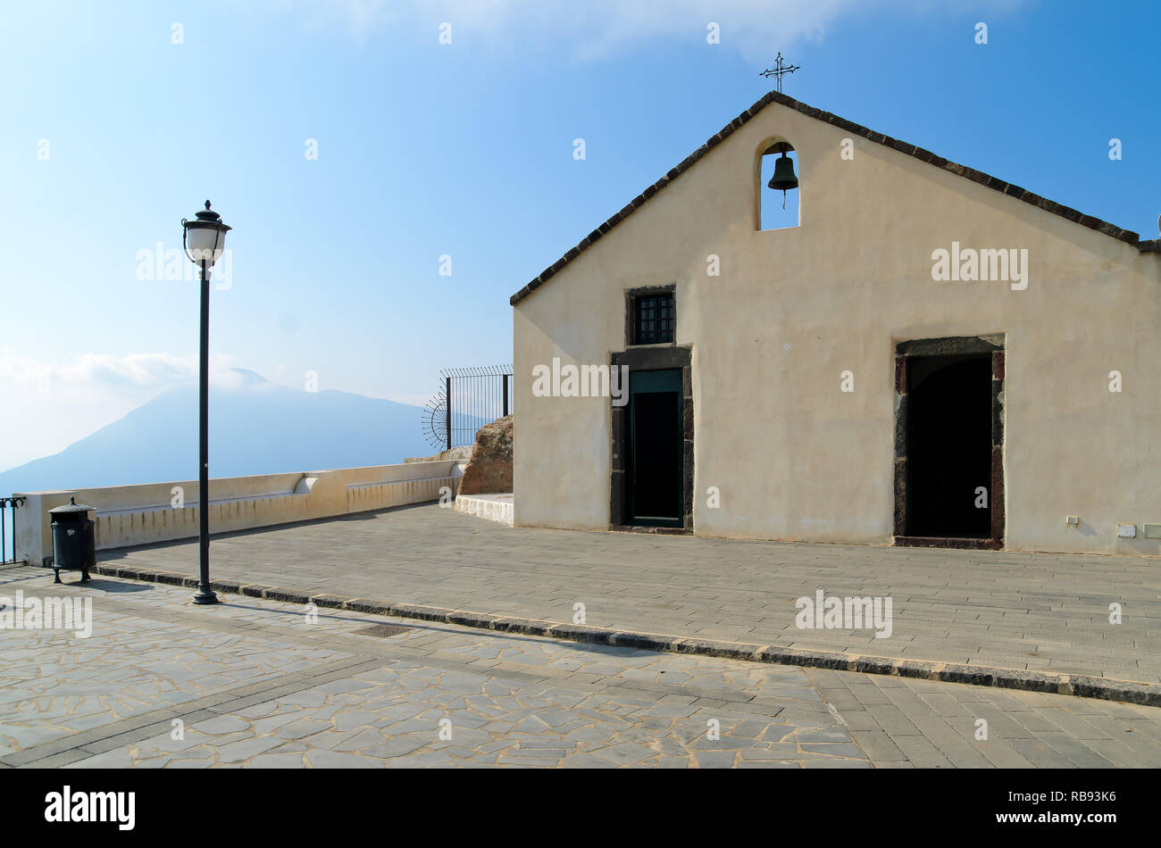 Sanctuary of the Holy Virgin, old church in Quattropani, Lipari, with amazing panoramic views over the Tyrrhenian sea and the Aeolian Archipelago. Stock Photo