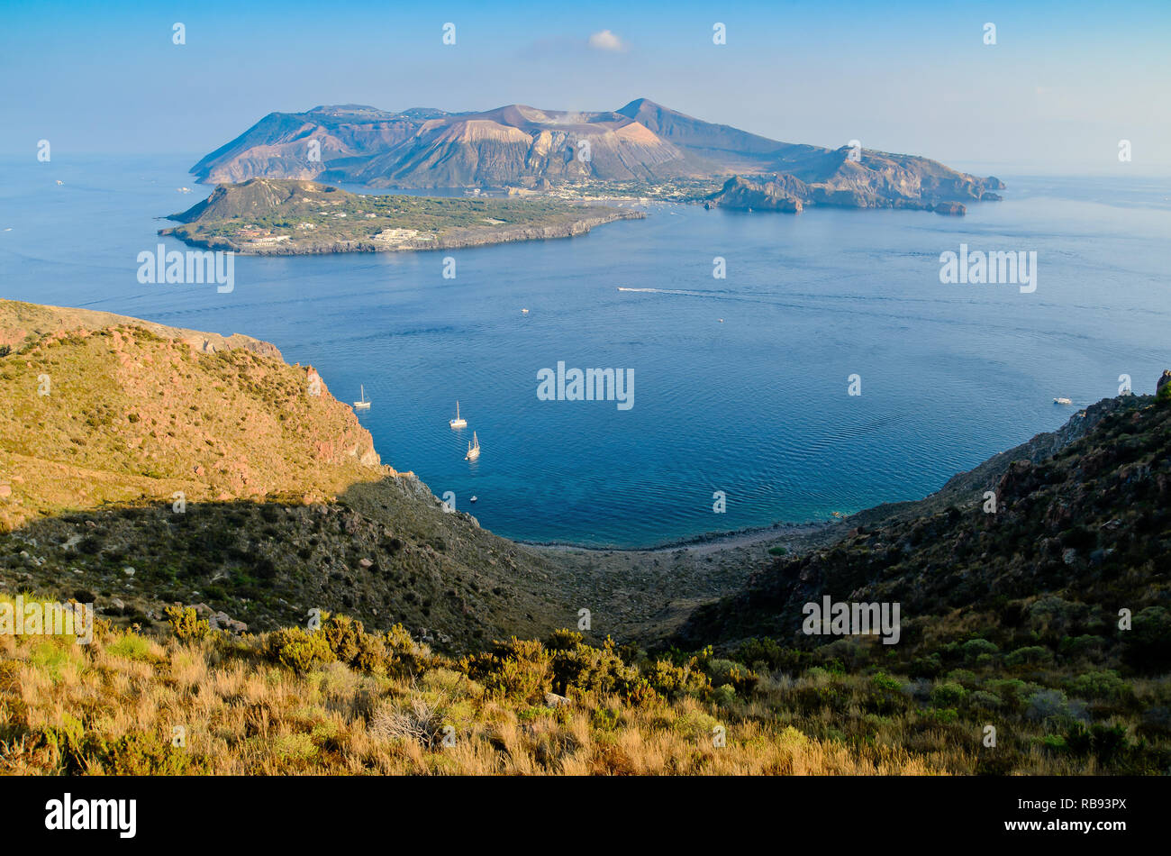 Aerial view of the Island of Vulcano from Lipari in the Aeolian Islands archipelago, Thyrrenian Sea, Sicily, Italy Stock Photo