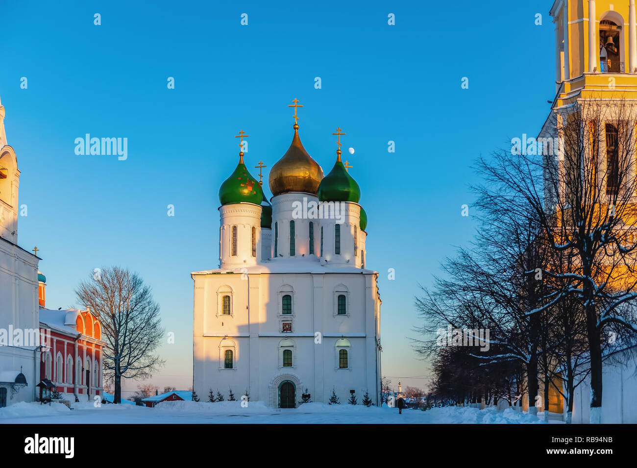 Kolomna, Russia. Orthodox Churches Of Cathedral Square. Bell Tower Of Church Of Tikhvin, Assumption Cathedral, Bell Tower And Church Of Intercession O Stock Photo