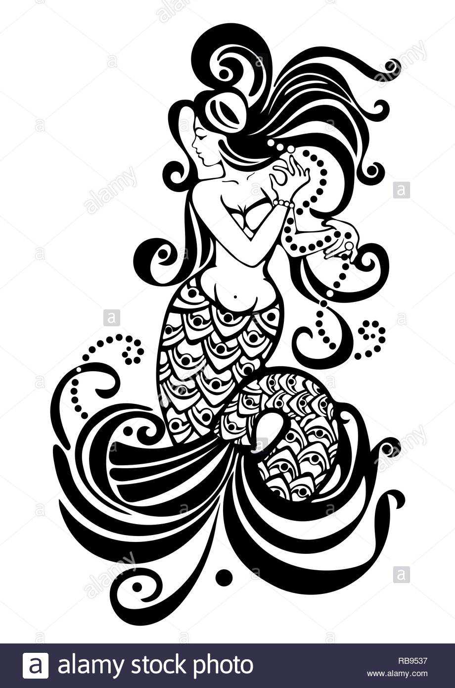 Mermaid Black And White Drawing Tattoo Design Mythical