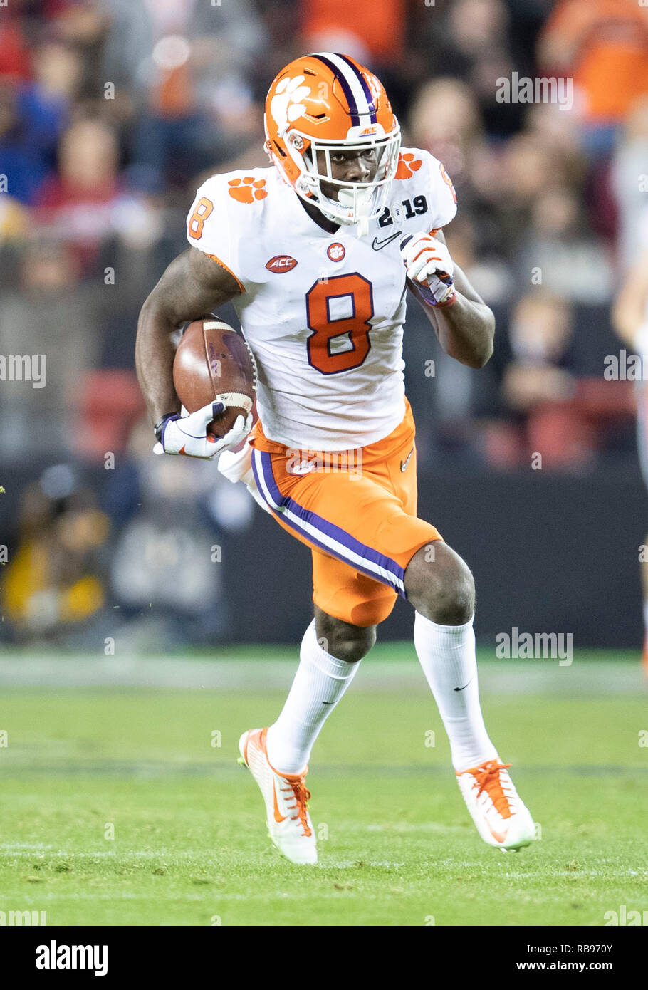 Santa Clara, California, USA. 07th Jan, 2019. Clemson wide receiver Justyn Ross (8) runs with the ball for a touchdown during College Football Playoff National Championship game action between the Clemson Tigers and Alabama Crimson Tide at Levi's Stadium in Santa Clara, California. Clemson defeated Alabama 44-16. John Mersits/CSM/Alamy Live News - Stock Image