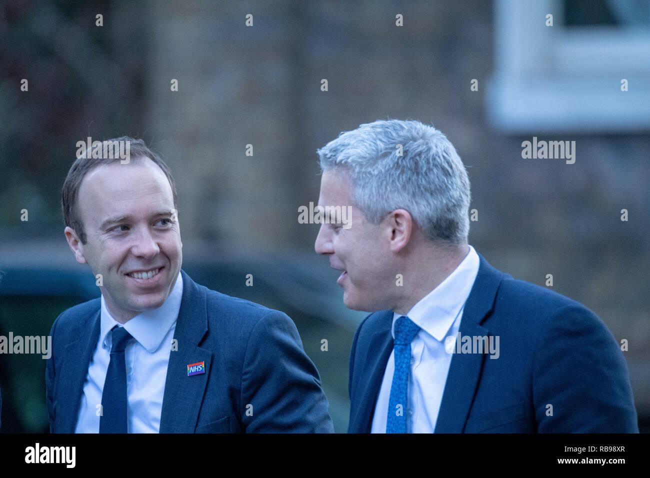 London 8thJanuary 2019,  Matt Hancock, MP PC, Health Secretary (left) and Stephen Barclay, MP PC, Brexit Secretary arrive at a Cabinet meeting at 10 Downing Street, London Credit Ian Davidson/Alamy Live News - Stock Image
