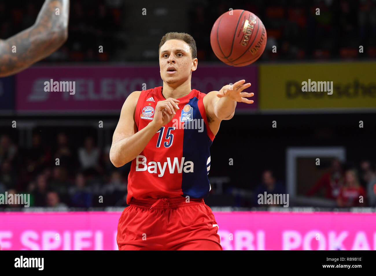 Robin AMAIZE (FCB), action, single image, single cut motive, half figure, half figure. Basketball 1.Bundesliga/Bayern Munich-medi Bayreuth on 06/01/2019. © Sven Simon Photo Agency GmbH & Co. Press Photo KG # Prinzess-Luise-Str. 41 # 45479 M uelheim/Ruhr # Tel. 0208/9413250 # Fax. 0208/9413260 # GLS Bank # Bank Code 430 609 67 # Kto. 4030 025 100 # IBAN DE75 4306 0967 4030 0251 00 # BIC GENODEM1GLS # www.svensimon.net ## -video ## Basketball 1.Bundesliga/FC Bayern Munich-Telekom Baskets Bonn on 21.10.2018, AUDIDOM E. | usage worldwide - Stock Image