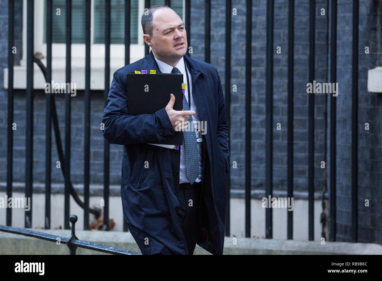 London, UK. 8th January, 2019. James Slack, No. 10 Official Spokesman, leaves 10 Downing Street following the first Cabinet meeting since the Christmas recess. Credit: Mark Kerrison/Alamy Live News - Stock Image
