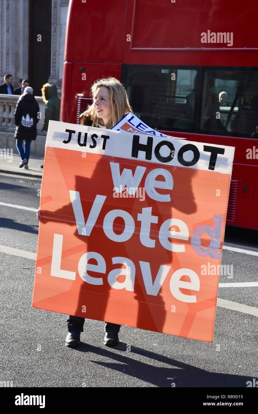 London, UK. 8th Jan 2019. A Brexiteer holding a 'We voted leave' placard appeals to motorists to hoot their support.Outside 10 Downing Street, Whitehall, London.UK Credit: michael melia/Alamy Live News - Stock Image
