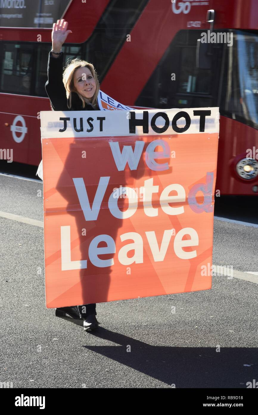 London, UK. 8th Jan 2019. A Brexiteer holding a 'We voted leave' placard appeals to motorists to hoot their support. Outside of 10 Downing Street, Whitehall,London.UK Credit: michael melia/Alamy Live News - Stock Image